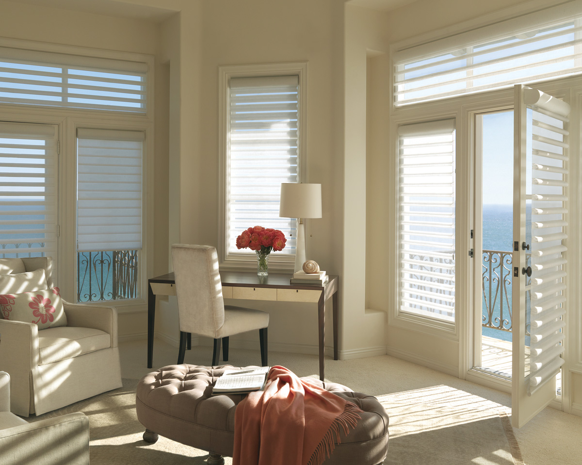 Window Treatments For Bay Windows In Dining Rooms Sheer Hunter Douglas Pirouette Shades Dallas Coppell Tx