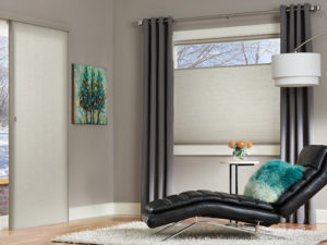 Duette® Architella® Honeycomb Shades with Vertiglide™ in the Living Room