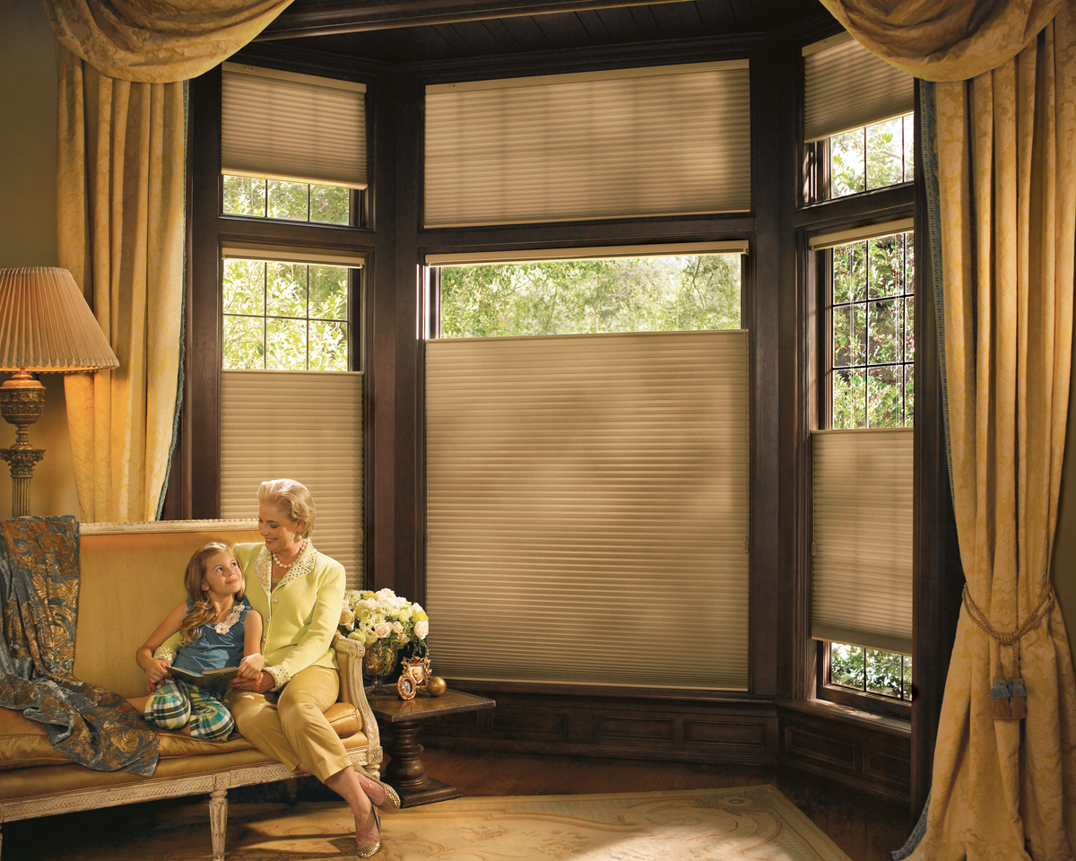 hunter douglas duette shades with drapery panels - Drapes And Blinds
